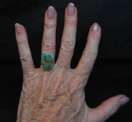 Image 2 of Navajo Royston Turquoise Silver Ring sz5-3/4, Everett Mary Teller
