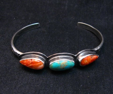 Image 3 of Navajo Indian Turquoise Spiny Oyster Stacker Cuff Bracelet, Everett Mary Teller