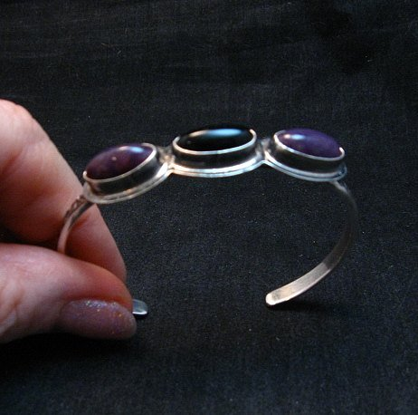 Image 0 of Navajo Black Onyx Purple Spiny Oyster Stacker Cuff Bracelet, Everett Mary Teller