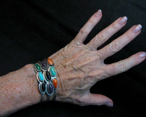 Image 3 of Navajo Native Amer Onyx Spiny Oyster Stacker Cuff Bracelet, Everett Mary Teller