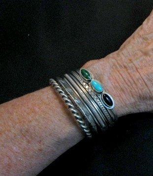 Image 4 of Navajo Native American Multistone Stacker Cuff Bracelet, Everett Mary Teller
