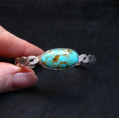 Image 2 of Kingman Turquoise Silver Bracelet by Navajo Everett & Mary Teller