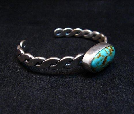 Image 3 of Kingman Turquoise Silver Bracelet by Navajo Everett & Mary Teller