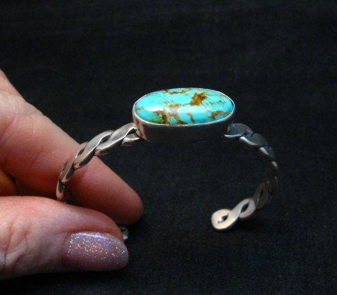 Image 1 of Kingman Turquoise Silver Bracelet by Navajo Everett & Mary Teller