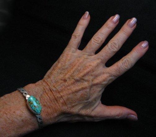 Image 4 of Kingman Turquoise Silver Bracelet by Navajo Everett & Mary Teller