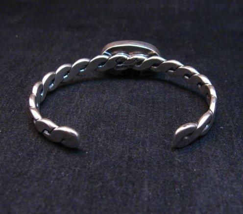 Image 5 of Kingman Turquoise Silver Bracelet by Navajo Everett & Mary Teller