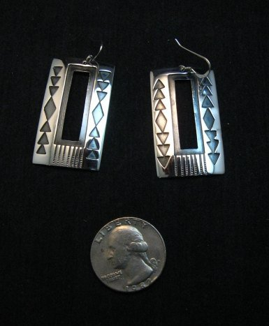 Image 0 of Contemporary Navajo Silver Overlay Earrings, Everett & Mary Teller