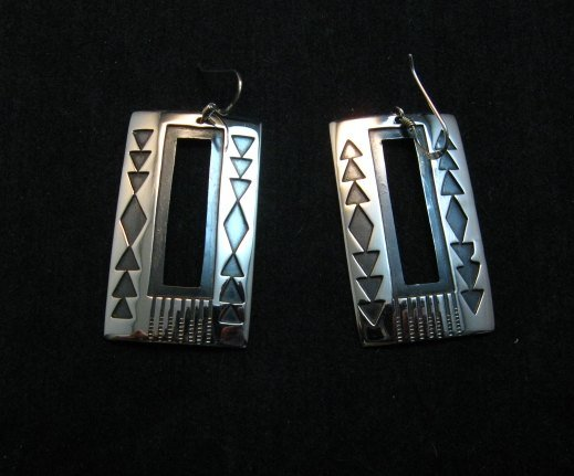 Image 1 of Contemporary Navajo Silver Overlay Earrings, Everett & Mary Teller
