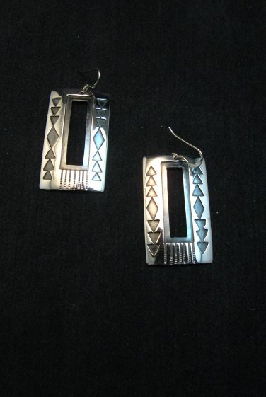 Image 2 of Contemporary Navajo Silver Overlay Earrings, Everett & Mary Teller