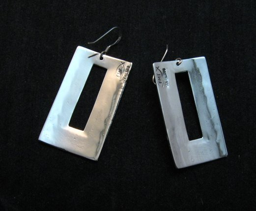Image 3 of Contemporary Navajo Silver Overlay Earrings, Everett & Mary Teller