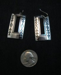 Contemporary Navajo Silver Overlay Earrings, Everett & Mary Teller