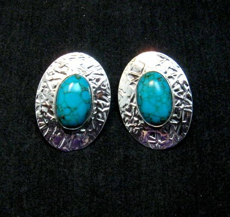 Image 0 of Navajo Turquoise Hammered Silver Post Earrings, Everett & Mary Teller