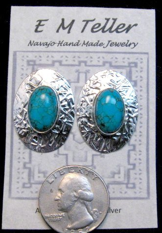Image 1 of Navajo Turquoise Hammered Silver Post Earrings, Everett & Mary Teller