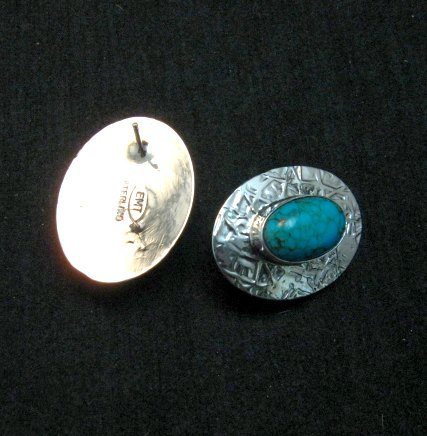 Image 2 of Navajo Turquoise Hammered Silver Post Earrings, Everett & Mary Teller