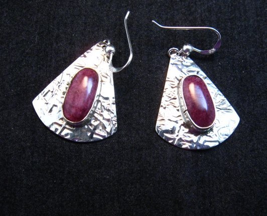 Image 0 of Navajo Everett & Mary Teller Purple Spiny Oyster Hammered Silver Earrings