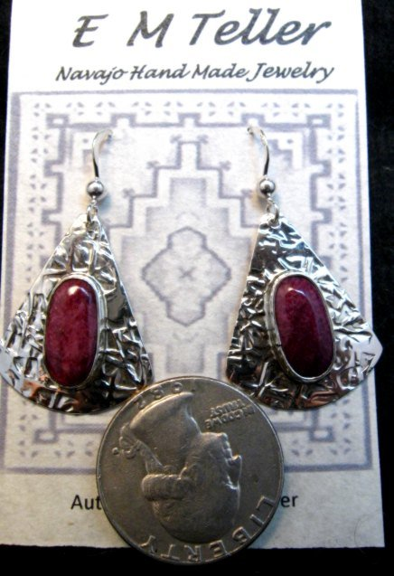 Image 1 of Navajo Everett & Mary Teller Purple Spiny Oyster Hammered Silver Earrings