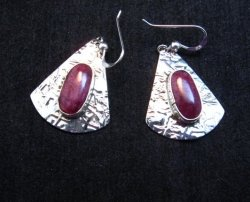 Navajo Everett & Mary Teller Purple Spiny Oyster Hammered Silver Earrings