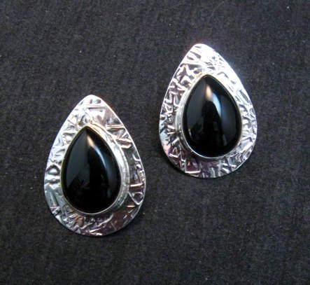 Image 0 of Navajo Everett Mary Teller Black Onyx Hammered Silver Earrings