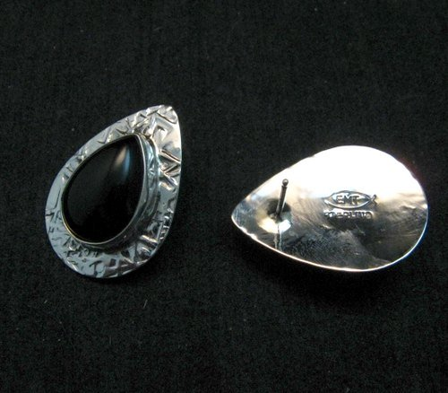 Image 2 of Navajo Everett Mary Teller Black Onyx Hammered Silver Earrings