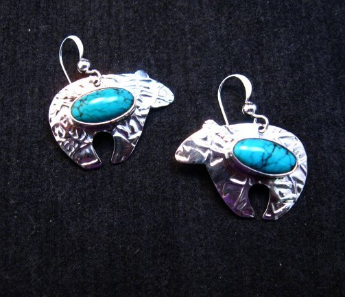 Image 0 of Navajo Native American Turquoise Silver Bear Earrings, Everett Mary Teller