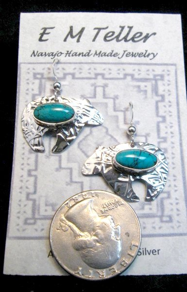 Image 2 of Navajo Native American Turquoise Silver Bear Earrings, Everett Mary Teller