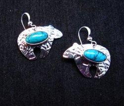 Navajo Native American Turquoise Silver Bear Earrings, Everett Mary Teller