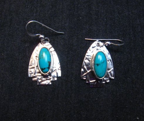 Image 1 of Navajo Sleeping Beauty Turquoise Silver Earrings, Everett & Mary Teller