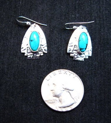 Image 2 of Navajo Sleeping Beauty Turquoise Silver Earrings, Everett & Mary Teller