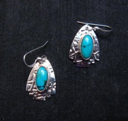 Navajo Sleeping Beauty Turquoise Silver Earrings, Everett & Mary Teller