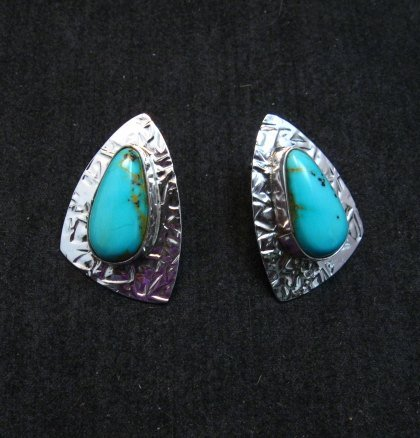 Image 0 of Navajo Kingman Turquoise Hammered Silver Post Earrings, Everett & Mary Teller
