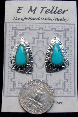 Image 1 of Navajo Kingman Turquoise Hammered Silver Post Earrings, Everett & Mary Teller