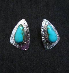 Navajo Kingman Turquoise Hammered Silver Post Earrings, Everett & Mary Teller