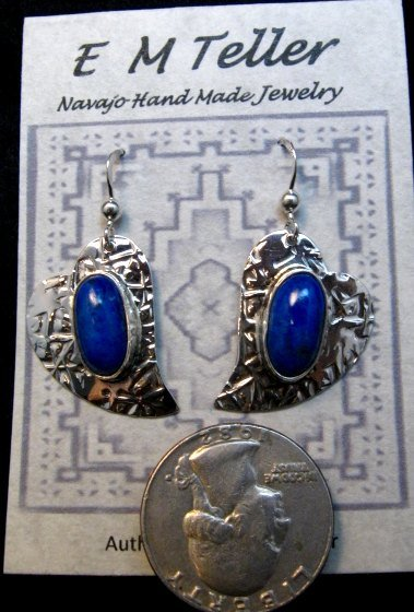 Image 0 of Navajo Handmade Silver Lapis Heart Earrings, Everett & Mary Teller