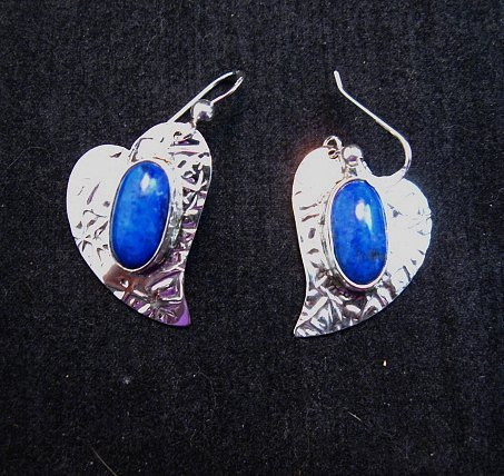 Image 1 of Navajo Handmade Silver Lapis Heart Earrings, Everett & Mary Teller