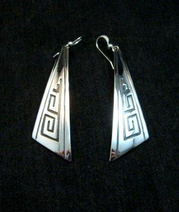 Image 0 of Long Native American Sterling Silver Earrings, Navajo Everett & Mary Teller