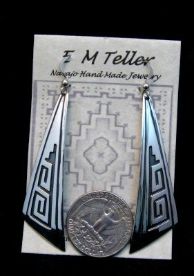 Image 1 of Long Native American Sterling Silver Earrings, Navajo Everett & Mary Teller