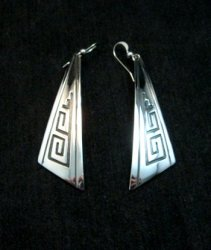 Long Native American Sterling Silver Earrings, Navajo Everett & Mary Teller