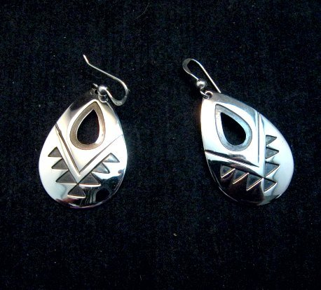 Image 1 of Everett & Mary Teller, Navajo Indian, Silver Overlay Earrings
