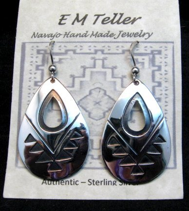 Image 2 of Everett & Mary Teller, Navajo Indian, Silver Overlay Earrings