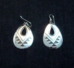 Everett & Mary Teller, Navajo Indian, Silver Overlay Earrings