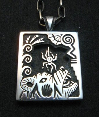 Image 0 of Collectible Hopi Howard Dennis Silver Shadowbox Spider Bear Pendant Necklace