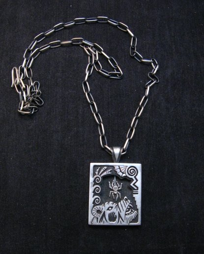 Image 1 of Collectible Hopi Howard Dennis Silver Shadowbox Spider Bear Pendant Necklace