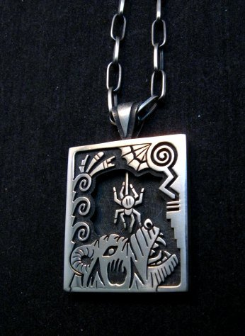 Image 2 of Collectible Hopi Howard Dennis Silver Shadowbox Spider Bear Pendant Necklace