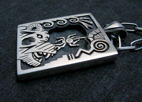Image 3 of Collectible Hopi Howard Dennis Silver Shadowbox Spider Bear Pendant Necklace