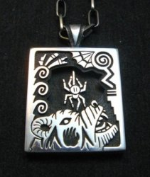 Collectible Hopi Howard Dennis Silver Shadowbox Spider Bear Pendant Necklace