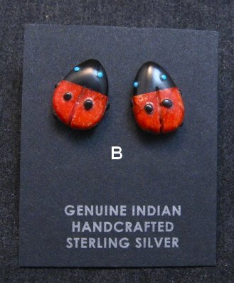 Image 2 of Cute Zuni Indian Ladybug Fetish Earrings by Georgette Quam