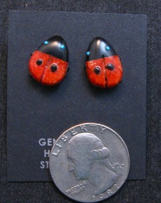 Image 3 of Cute Zuni Indian Ladybug Fetish Earrings by Georgette Quam