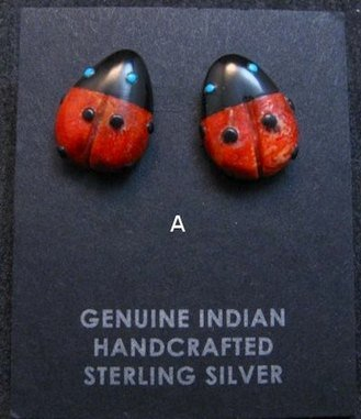 Image 1 of Cute Zuni Indian Ladybug Fetish Earrings by Georgette Quam