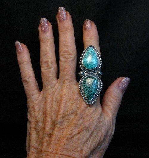 Image 2 of Amazing Gem Quality Turquoise Ring Navajo Freddie Maloney sz 8-1/4