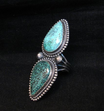 Image 3 of Amazing Gem Quality Turquoise Ring Navajo Freddie Maloney sz 8-1/4